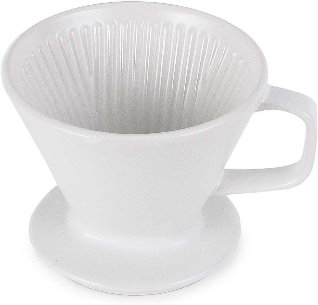 Hinomaru Collection Porcelain Pour Over Coffee Brewing Coffee Filter Cup Reusable Coffee Dripper Filter Portable Daily Coffee Maker for Coffee Enthusiast & At-home Baristas (White Coffee Filter)