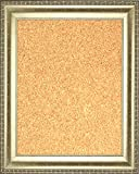 Framed Cork Board 24'' x 36'' - with Silver Finish Frame with Ornate Design on Edge