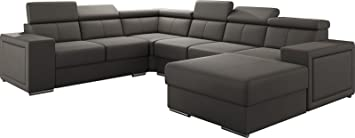 en stock 5c127 26c36 Canapé d'angle moderne en simili cuir coloris taupe avec ...