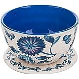 Berry Bowl and Plate Colander Set Floral Ceramic Blue