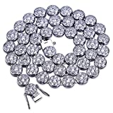 TOPGRILLZ 14K Hip Hop CZ Lab Diamond Rhinestone Tennis Chain Necklace (Silver 24'')