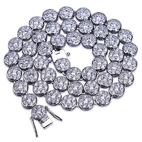 Hip Hop Diamond Necklaces - TOPGRILLZ 14K Hip Hop CZ Lab Diamond Rhinestone Tennis Chain Necklace (Silver 30'')