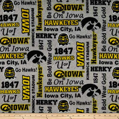 Sykel Enterprises NCAA Fleece Iowa Heather Verbiage Fabric, Team Color, Fabric By The Yard