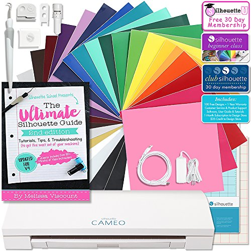 Silhouette CAMEO 3 Bluetooth Starter Bundle with 24-12x12 Oracal 651 Sheets, Silhouette Ultimate Guide Paperback, Class, and More by Silhouette