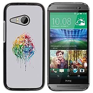 Caucho caso de Shell duro de la cubierta de accesorios de protección BY RAYDREAMMM - HTC ONE MINI 2 / M8 MINI - Psychedelic Rainbow Lion