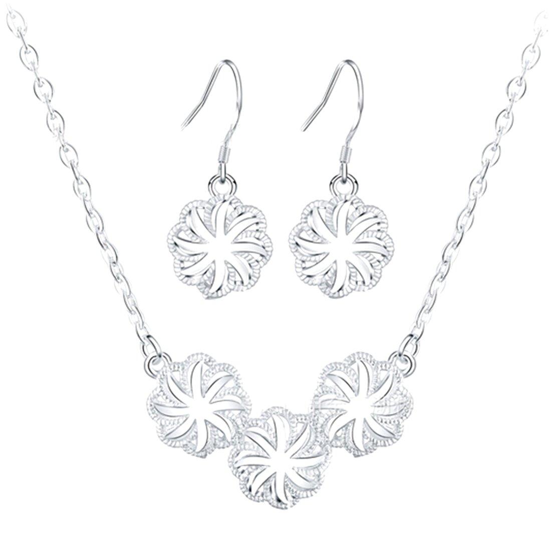Wedding Fashion Silver Plated Sakura Shaped Pendant Jewelry Set Necklace Earing