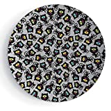 iPrint 6'' Porcelain Plate Cat Decor Kitty Forms with Trippy Eye on Head Freaky Spiritual Kitten Pets Animal Graphic