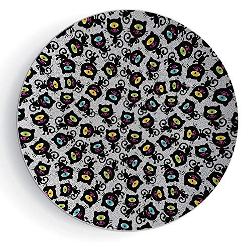 iPrint 6'' Porcelain Plate Cat Decor Kitty Forms with Trippy Eye on Head Freaky Spiritual Kitten Pets Animal Graphic by iPrint