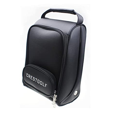 Amazon.com   Crestgolf Deluxe PU Golf Shoe Bag Waterproof- Zippered ... 2b029a1cb731c