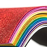 Glitter Foam Sheet Sparkles Self Adhesive Sticky 30 X 20cm Back Paper 10-Pack for Children's Craft Activities DIY Cutters Art Assorted Colors