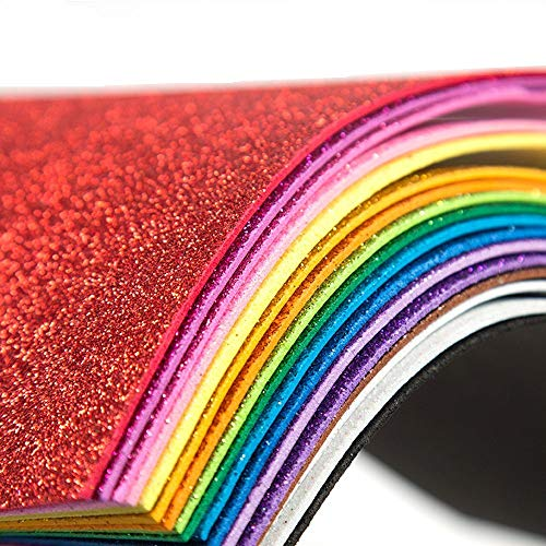 Glitter Foam Sheet Sparkles Self Adhesive, Assorted Colors