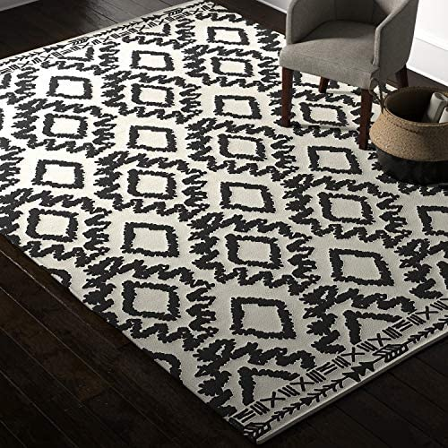 Amazon Brand Rivet Black and Ivory Global Print Cotton Area Rug