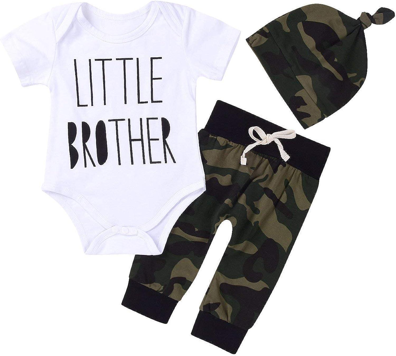 Cute 3pcs Newborn Baby Boys Letter Print Romper+Camouflage Pants+Hat Outfits Set