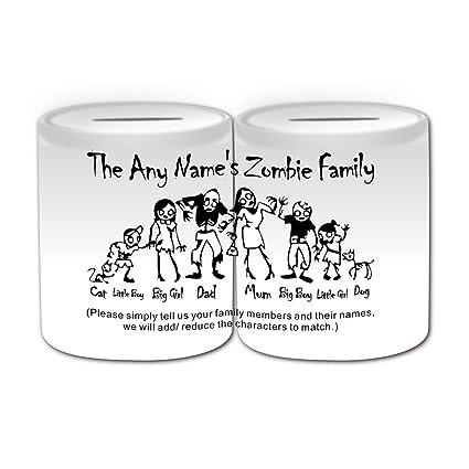 Personalizado regalo – Zombie familia caja de dinero (diseño de miedo tema, blanco)
