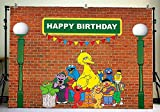 Menggege Brick Wall Photography Backdrops Sesame Street First 1st Second 2nd third 3rd Boy Girl Birthday Party Banner Baby Shower Photo Background Supply Decoration 7x5ft Vinyl