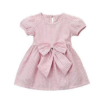 Remoción bestoppen bebé niñas vestido de princesa de, diseño de manga corta rayas impreso Swing