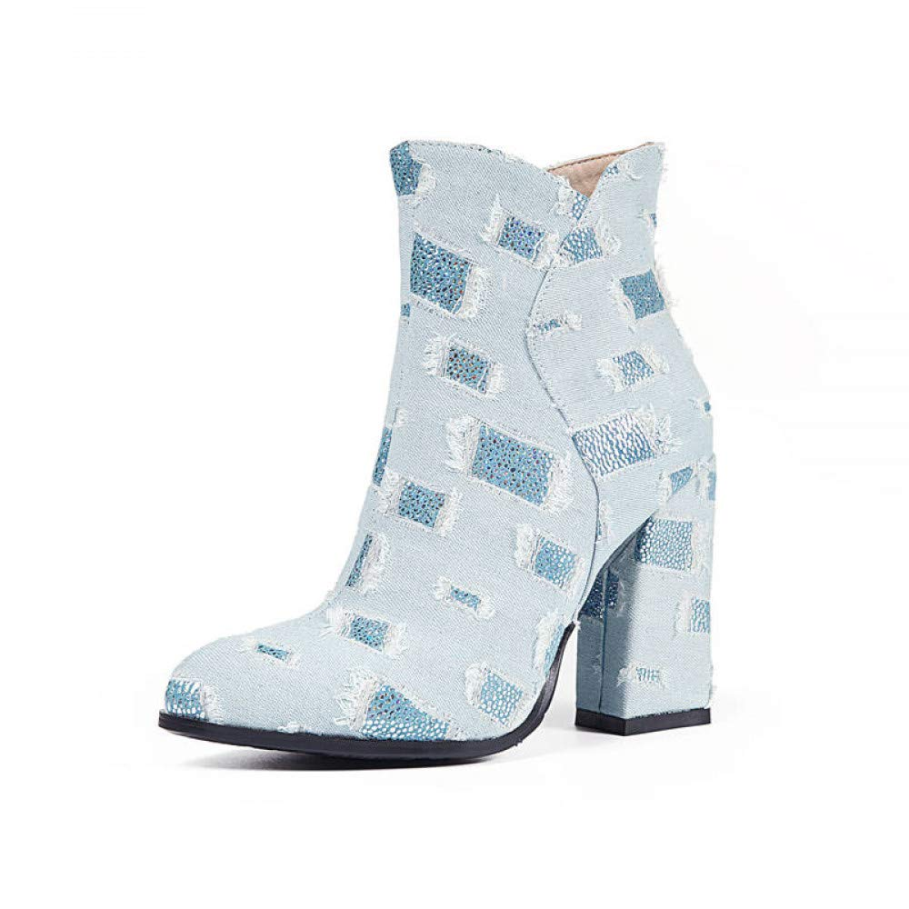 PINGXIANNV Denim Ankle Ankle Ankle Stiefel Frauen Einfach Reißverschluss Spitze Zehe Herbst Stiefel Gemischte Farben Fashion High Heels Schuhe a54bf9
