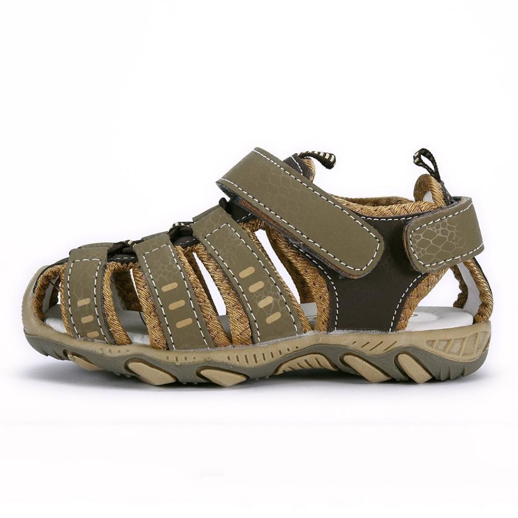 KONFA Teen Baby Boys Girls Hollow Out Closed-Toe Sandals,for 3.5-13 Years old,Kids Summer Anti-Slip Hook/&Loop Beach Shoes