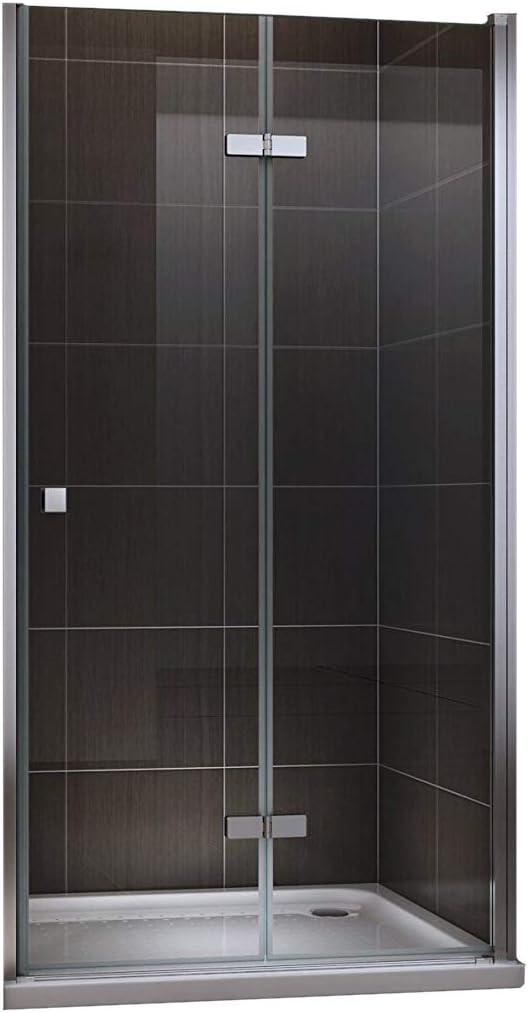 Puerta de ducha plegable de cristal de seguridad transparente 80–120x 190cm, transparente