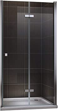 Puerta de ducha plegable de cristal de seguridad transparente 80 – 120 x 190 cm, transparente: Amazon.es: Bricolaje y herramientas