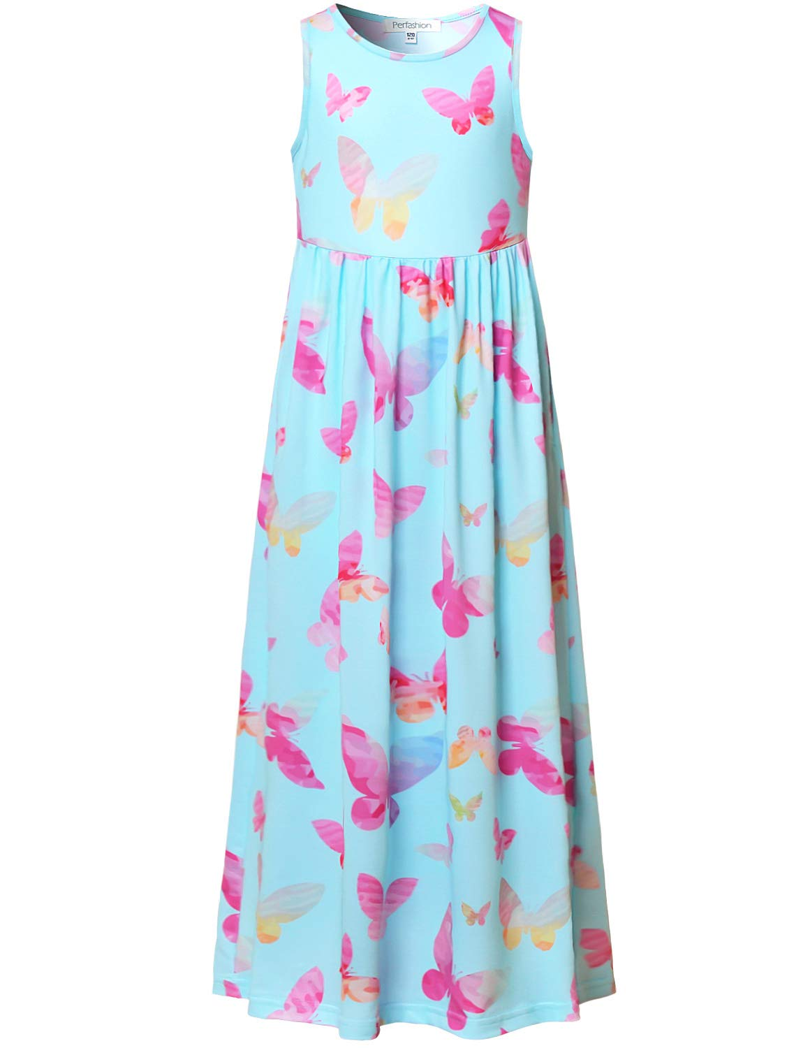 Perfashion Girl's Dress Long Maxi Summer Floral Birthday Party Sleeveless Print Dresses with Pockets