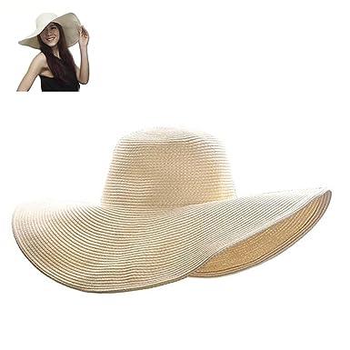 d48fb77aef715 Dealzip Inc Ladies Summer Roll-up Crushable Wide Brim Sun Beach Hat(Beige)