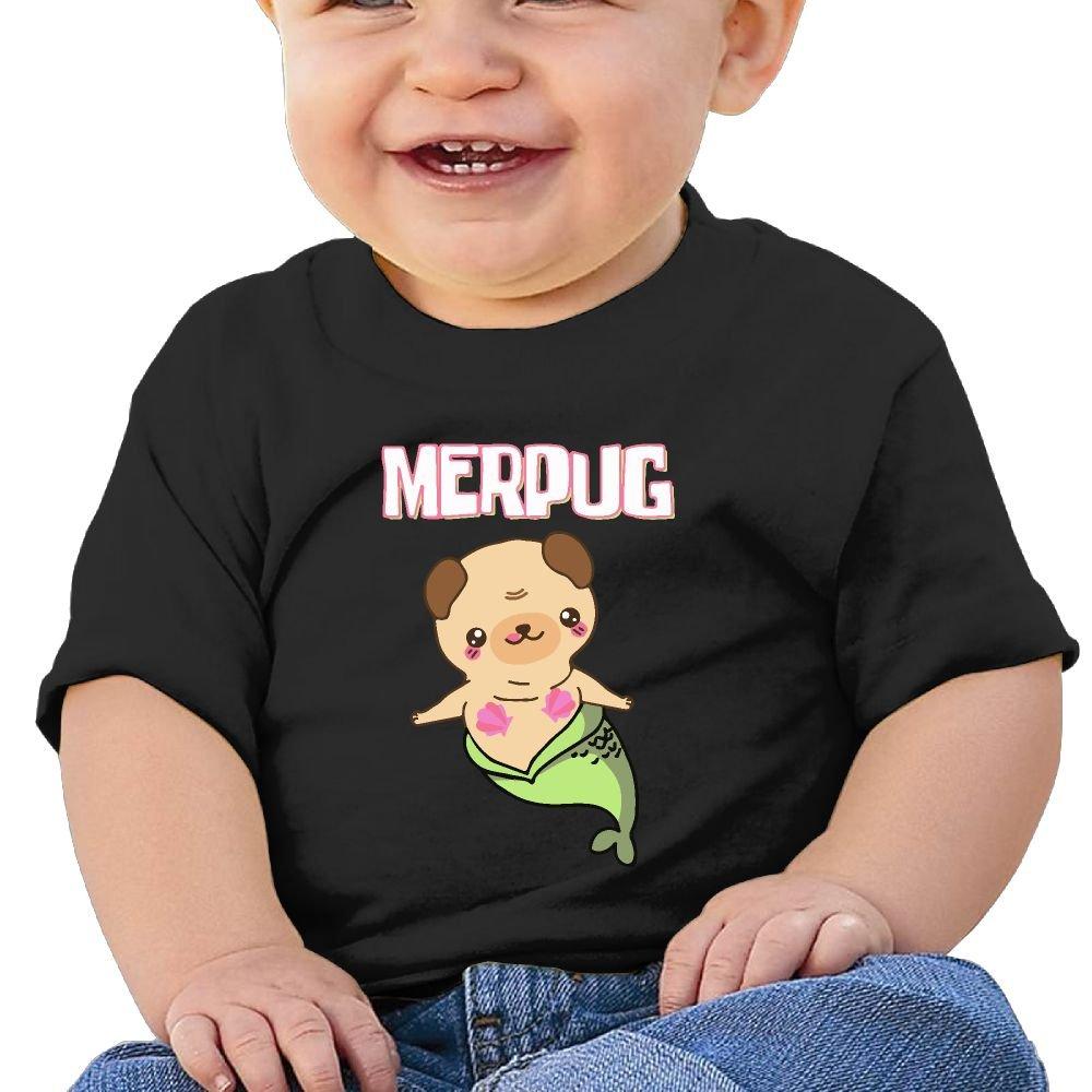 REBELN MERPUG Mermaid Pug Cotton Short Sleeve T Shirts for Baby Toddler Infant