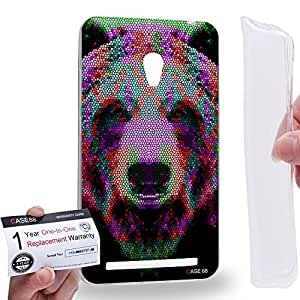 Case88 [Asus Zenfone 6] Gel TPU Carcasa/Funda & Tarjeta de garantía - Art Aztec Design Bear Red and Green Animal Faces Art1377