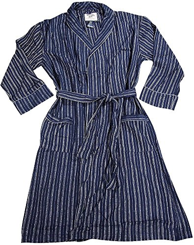 Striped Mens Robe (B O P J - Mens Long Sleeve Striped Flannel Robe, Navy, Grey)