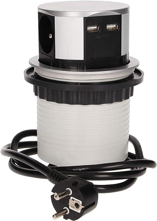 3680W max Longueur de C/âble de 1.5m Prise de courant de type E /Ø10cm 2x USB 3 Prises ORNO AE-1342 Bloc Multiprise Encastrable Escamotable