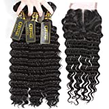 QTHAIR 10A Brazilian Hair Deep Wave 3 Bundles with 4x4 Lace Closure(22'' 20'' 18''+16'',Middle Part,Natural Black) 100% Unprocessed Human Hair with Swiss Lace Closure Brazilian Deep Curly Weave Hair