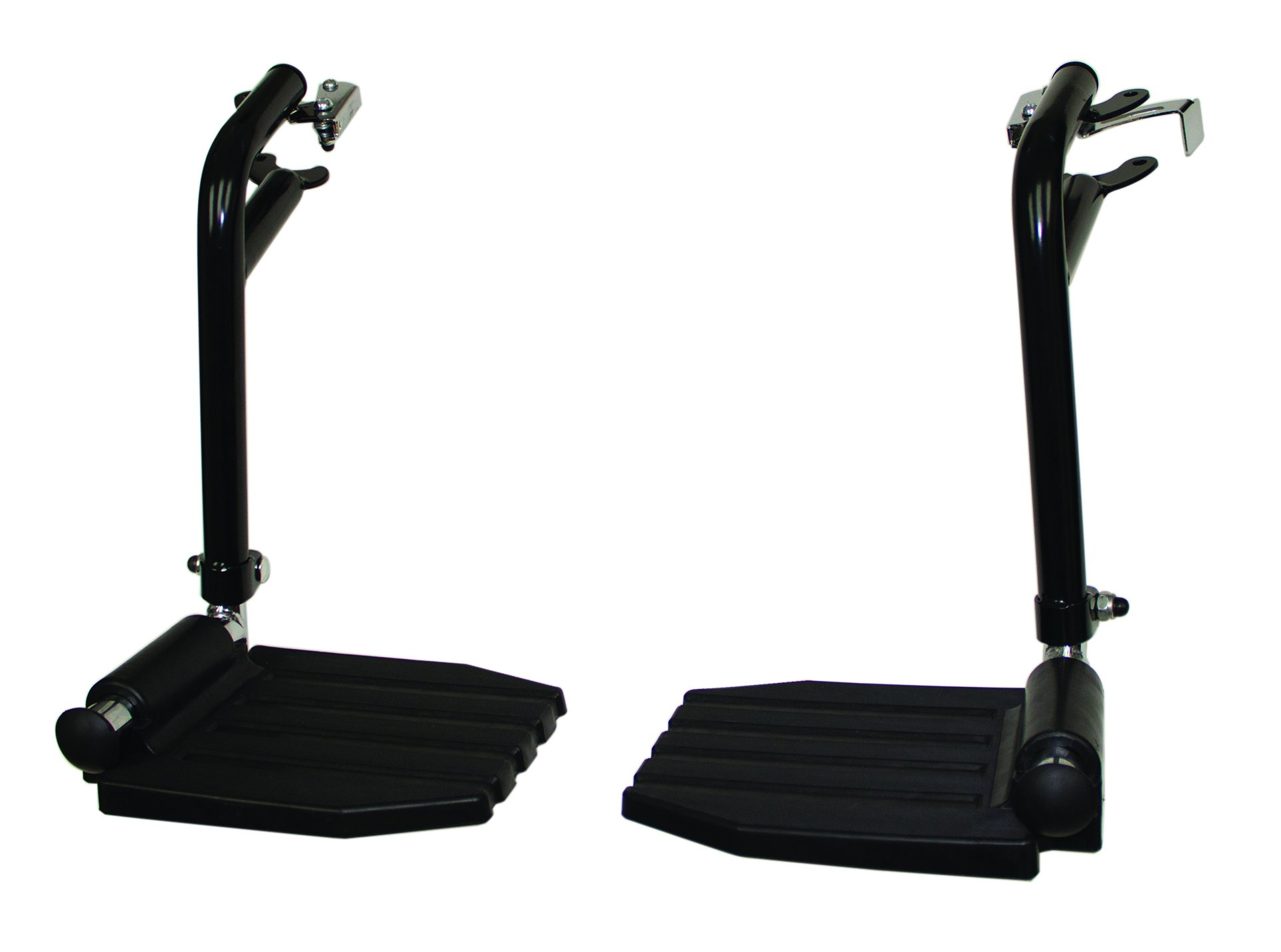 FRB412 - (1 Pair) Top Latch Black Footrest, Hemi Pin Spacing, Plastic Footrest