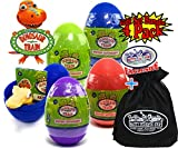 Dinosaur Train Mystery Hatchasaurs Dino Eggs Purple, Blue, Green & Red Gift Set Party Bundle with Exclusive ''Matty's Toy Stop'' Storage Bag - 4 Pack