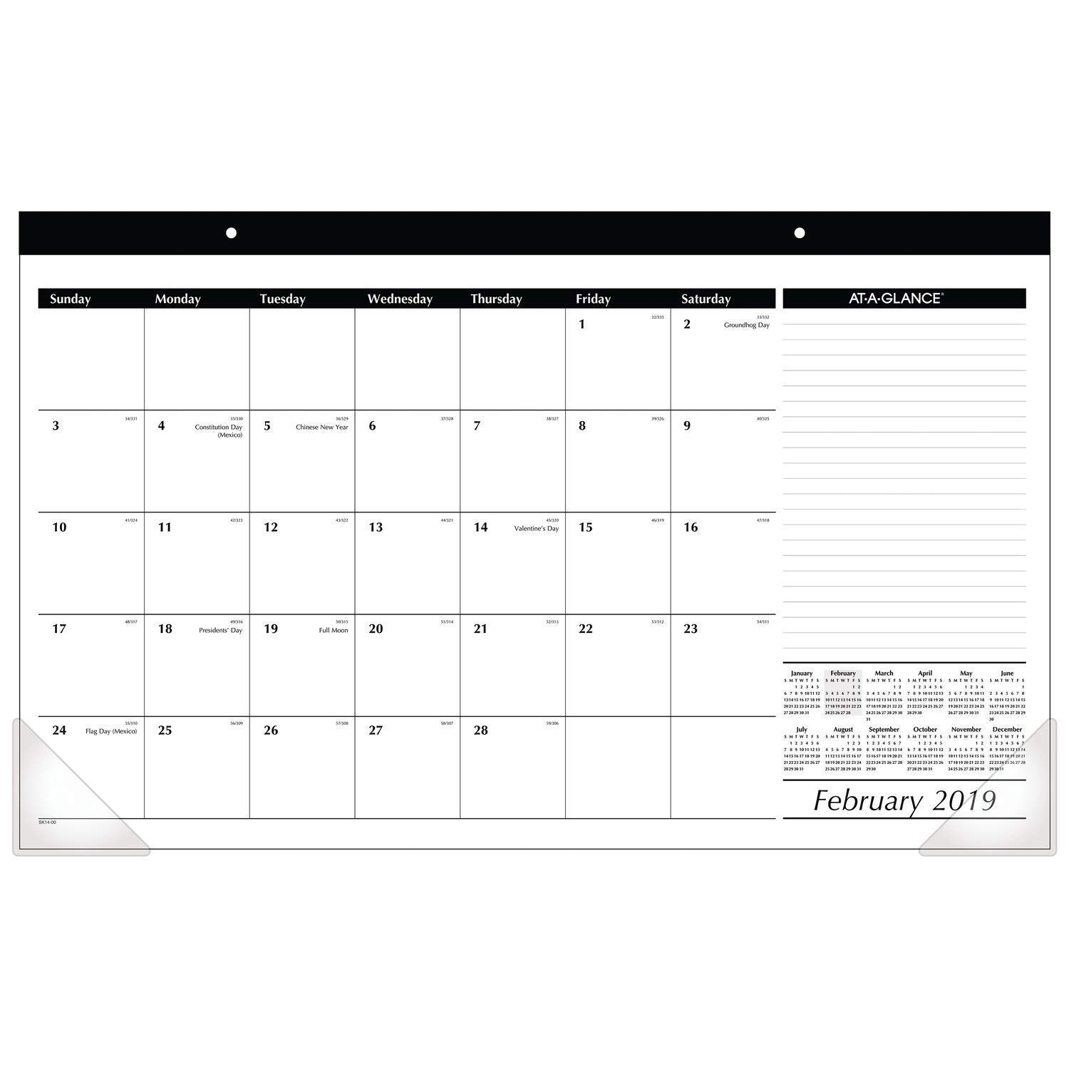 AT-A-GLANCE Compact Monthly Desk Pad Calendar, January 2019 - December 2019, 17-3/4 x 10-7/8, Black/White (SK1400) 17-3/4 x 10-7/8 ACCO Brands SK140019