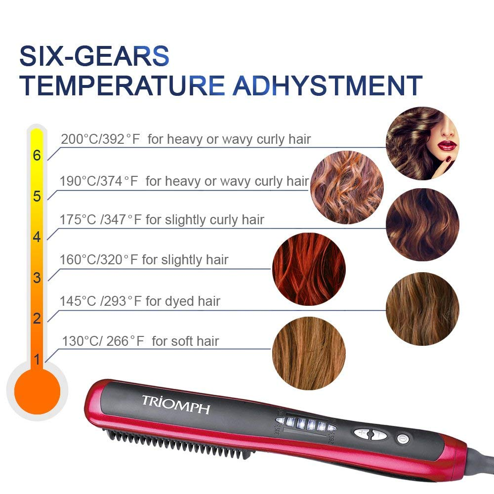 Hair Straightener Comb Brush Electric PTC Ceramic Heating 30s Instant Heat 60s Quick Styling Straightening Curling Anion Zero Hurt To Hair Anti Scald, Red by yahogo (Image #5)