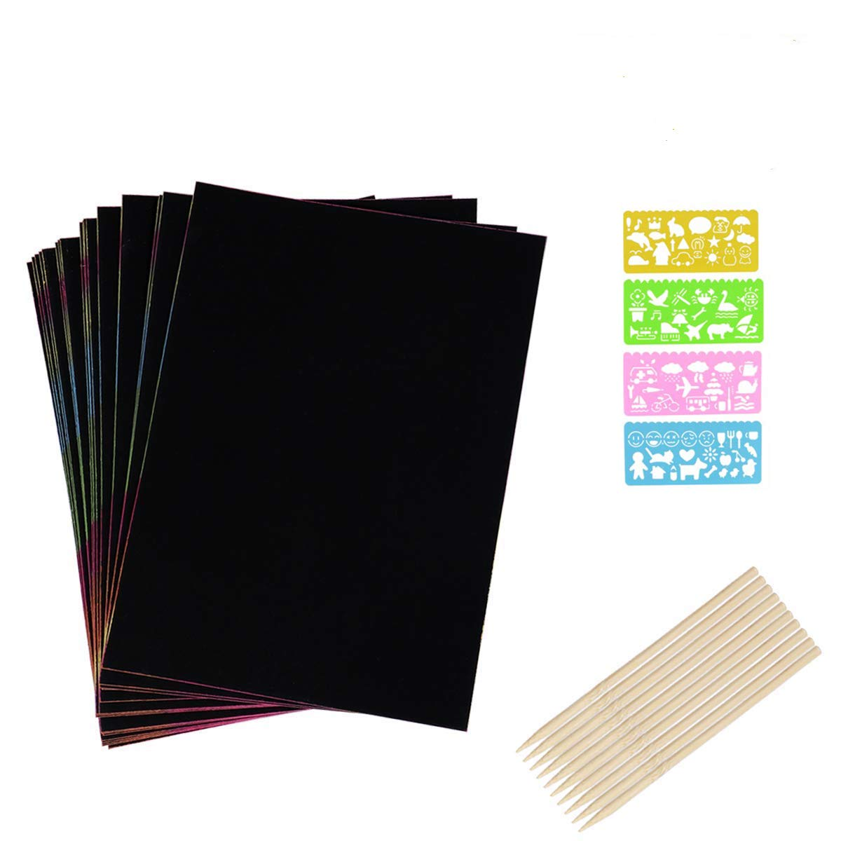 JBSON Scratch Art, 30 Sheets Scratch Paper Scratch Art Combo Rainbow Scratch Sheets Scratch Art Doodle Pad with 4 Drawing Template Stencil Rulers and 10 Wooden Styluses