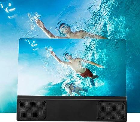 Amplificador de Lupa de Pantalla de teléfono móvil de 12 Pulgadas, tecnología de Lente óptica de Alta definición de Fresnel/PVC 2.2 Veces Material HD, Soporte de expansor de proyectores de Pantalla: Amazon.es: