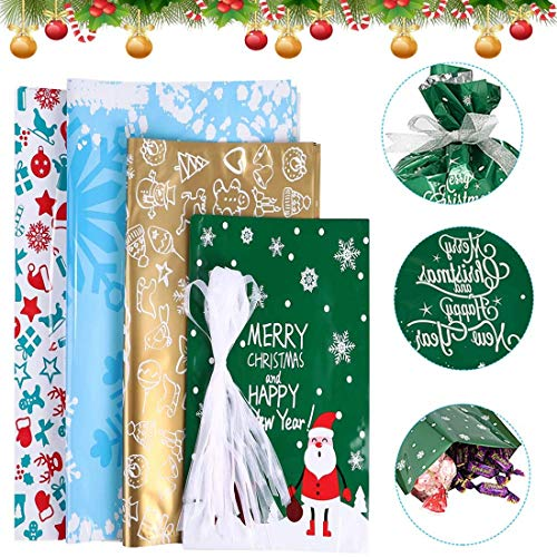 Bivan 30 Pieces Party Gift Wrapping Bags, Large Size Assorted Styles Present Bags with Ribbons, Favor Pouch Goody Bags for Birthday Party Holiday Decorations