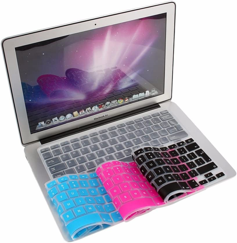 EU English Light Blue Rose Red Transparent Black Keyboard Protector Cover Keypad Skin Protector For Macbook Pro Air 13 15 17 PrinceShop