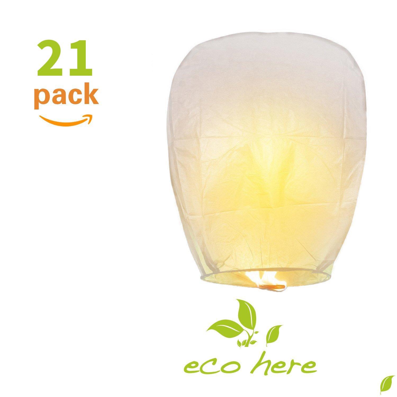 Averill Bay Sky Lanterns, 21 PCS Sky Lanterns Paper Eco Friendly, Ideal for Wedding, Birthday, Christmas, Party (White)