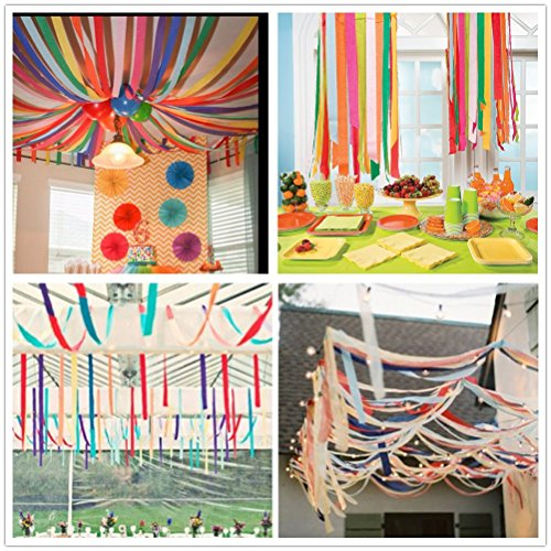 Amazon 82ft Streamer Paper Decorations Assorted Colors Crepe For Birthday Party Wedding Holiday Christmas Decoration 8 Rolls