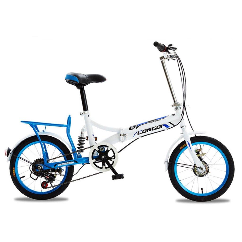 折りたたみ自転車16インチポータブル自転車4-7歳の子供の自転車高炭素鋼フレーム、白青/黒と白赤/ピンク白/白緑 (Color : White and blue)   B07CZBCT59