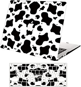Hard Case Compatible with MacBook Air 13 inch 2020 2019 2018 Release A2337 M1 A2179 A1932,AJYX Plastic Hard Shell Case & Keyboard Cover for MacBook Air 13 Retina with Touch ID,Milk Cow JR839