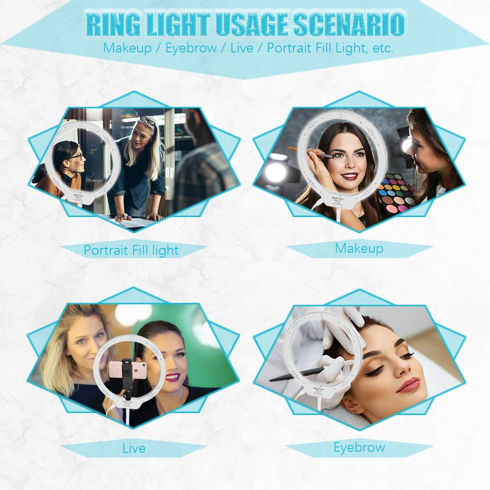 """Selfie Desktop Ring Light,ZOMEI 10""""7.5W 3200-5500K Dimmable Ring Light with Mirror for YouTube,Live Streaming,Portrait Photography and Make up."""