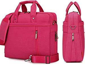 YiYiNoe Shoulder Bag for 17 inch Laptop Business Briefcase Waterproof Messenger Bags Hot Pink