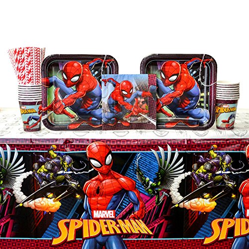 Spiderman Party Supplies Pack for 16 Guests: Straws, Dinner Plates, Luncheon Napkins, Cups, and Table Cover (Bundle for 16)