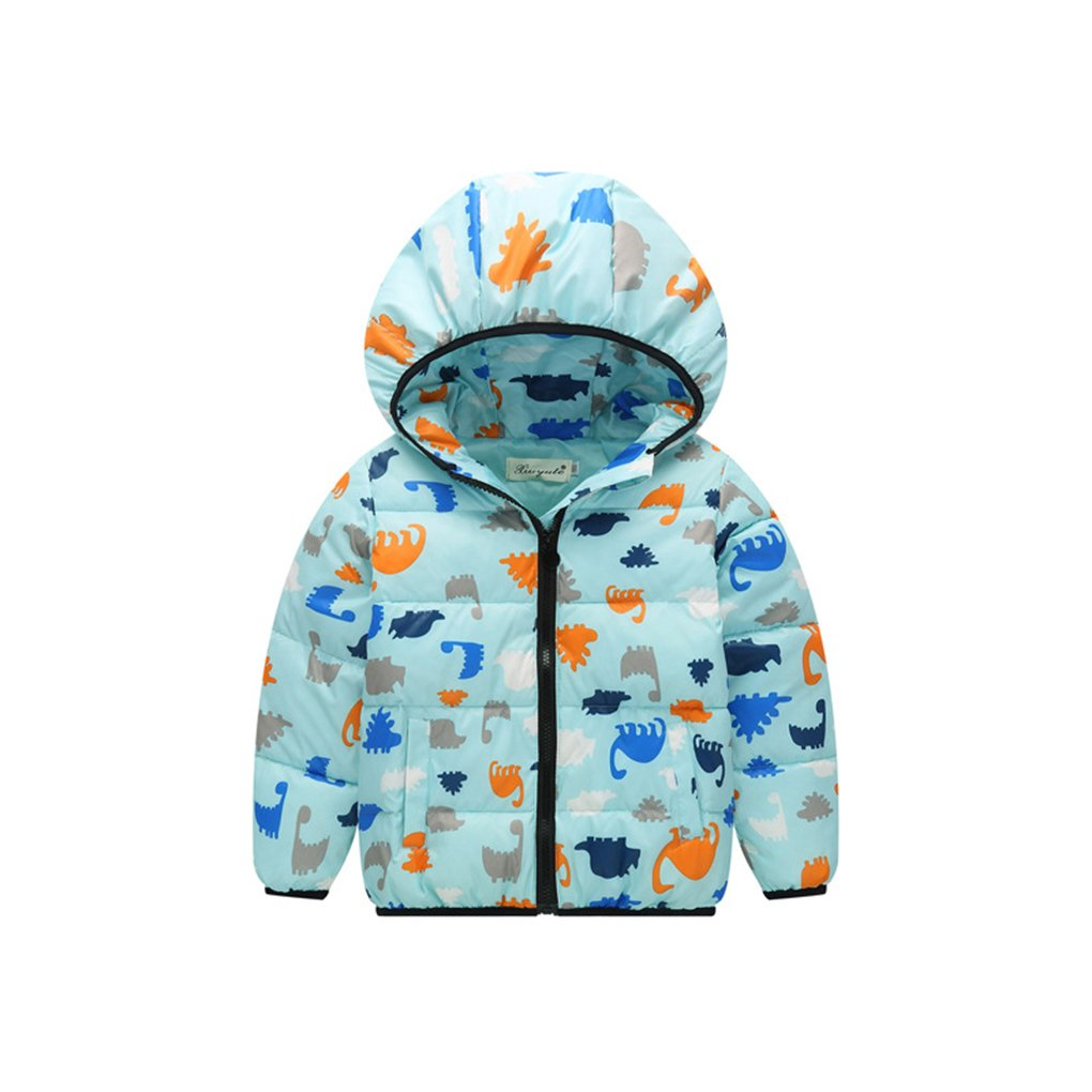 Chilie Child Down Jacket Warm Cartoon Dinosaur Active Short Winter Outwear Hoodie Coats For Boys Girls Light Green 140cm