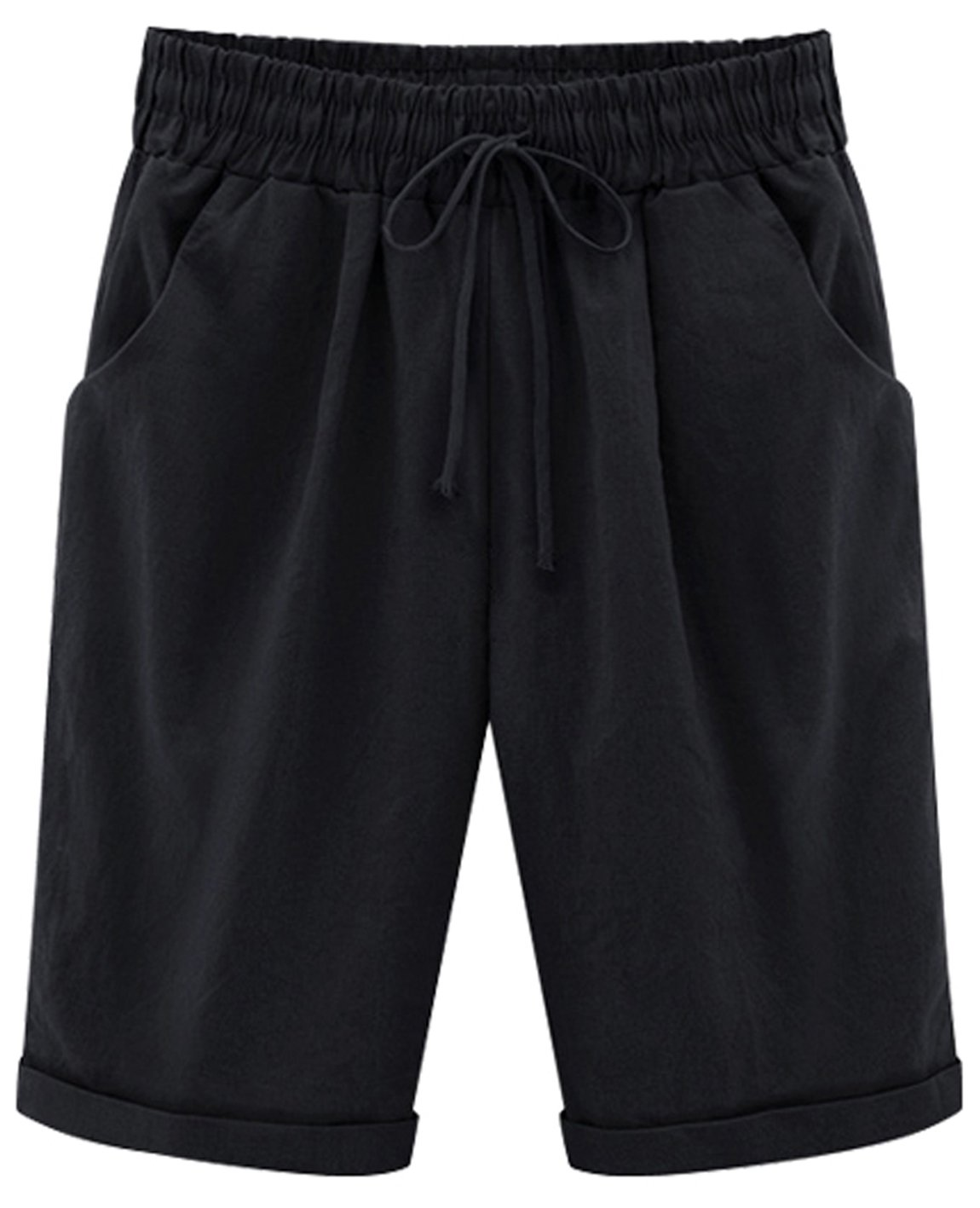 HOW'ON Women's Casual Elastic Waist Knee-Length Curling Bermuda Shorts with Drawstring Black L