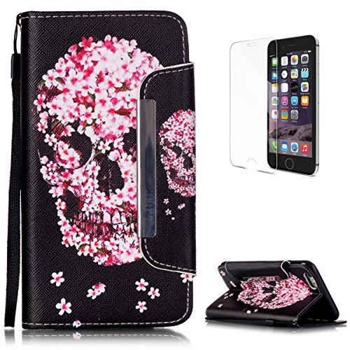 Dolphin Bamboo Patterns - iPhone 6 Plus/6S Plus Premium Leather Wallet Case [Free Screen Protector],KaseHom Fashion Pink Flower Skull Pattern Design Folio Flip Magnetic Protective PU Leather Case Cover Skin Shell