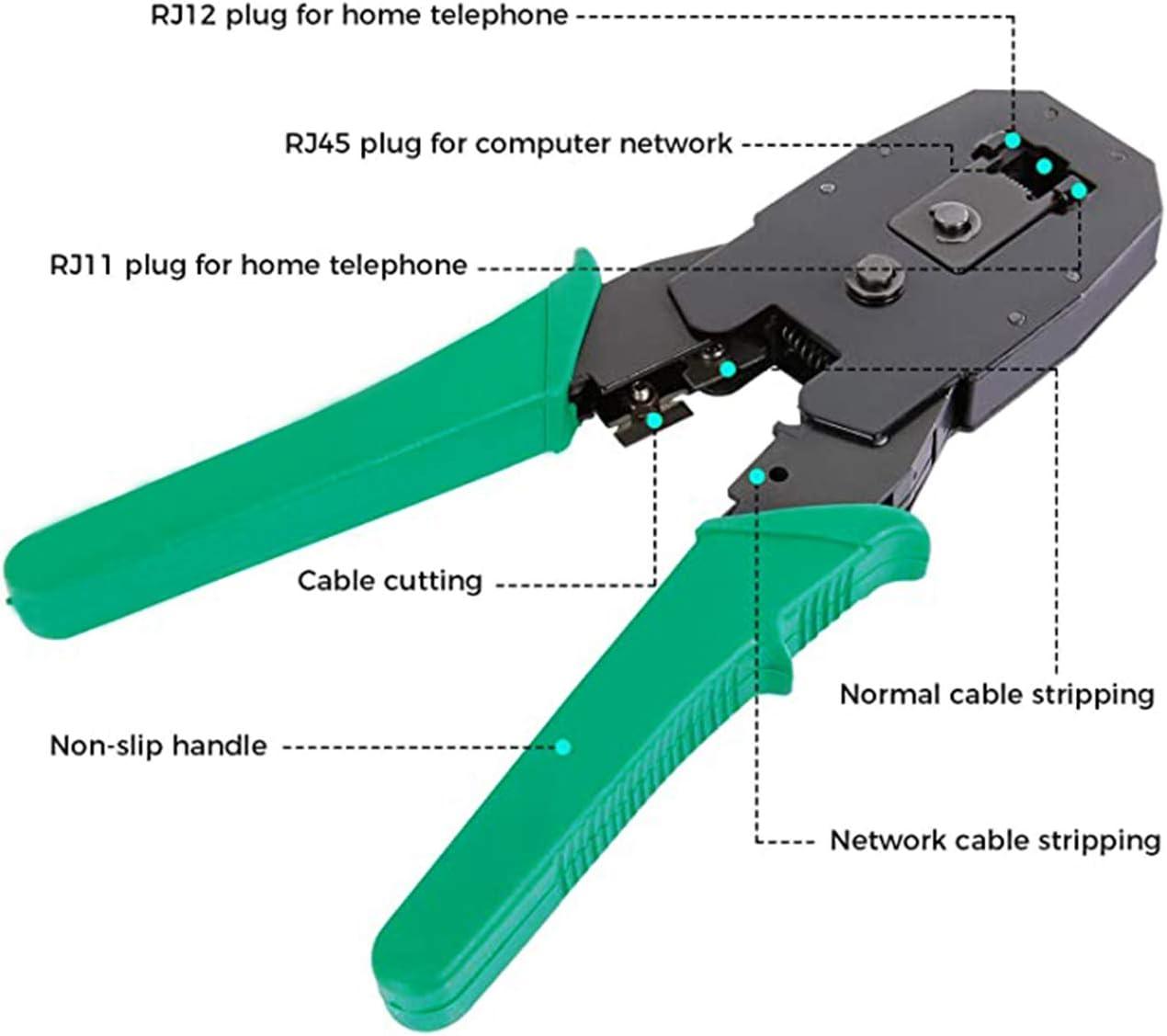 pince /à sertir et prise coaxial RJ45 pour la maison ou le bricolage. Cat5 Kit doutils de r/éseau 12 en 1 outils professionnels de r/éparation de r/éseau avec RJ45